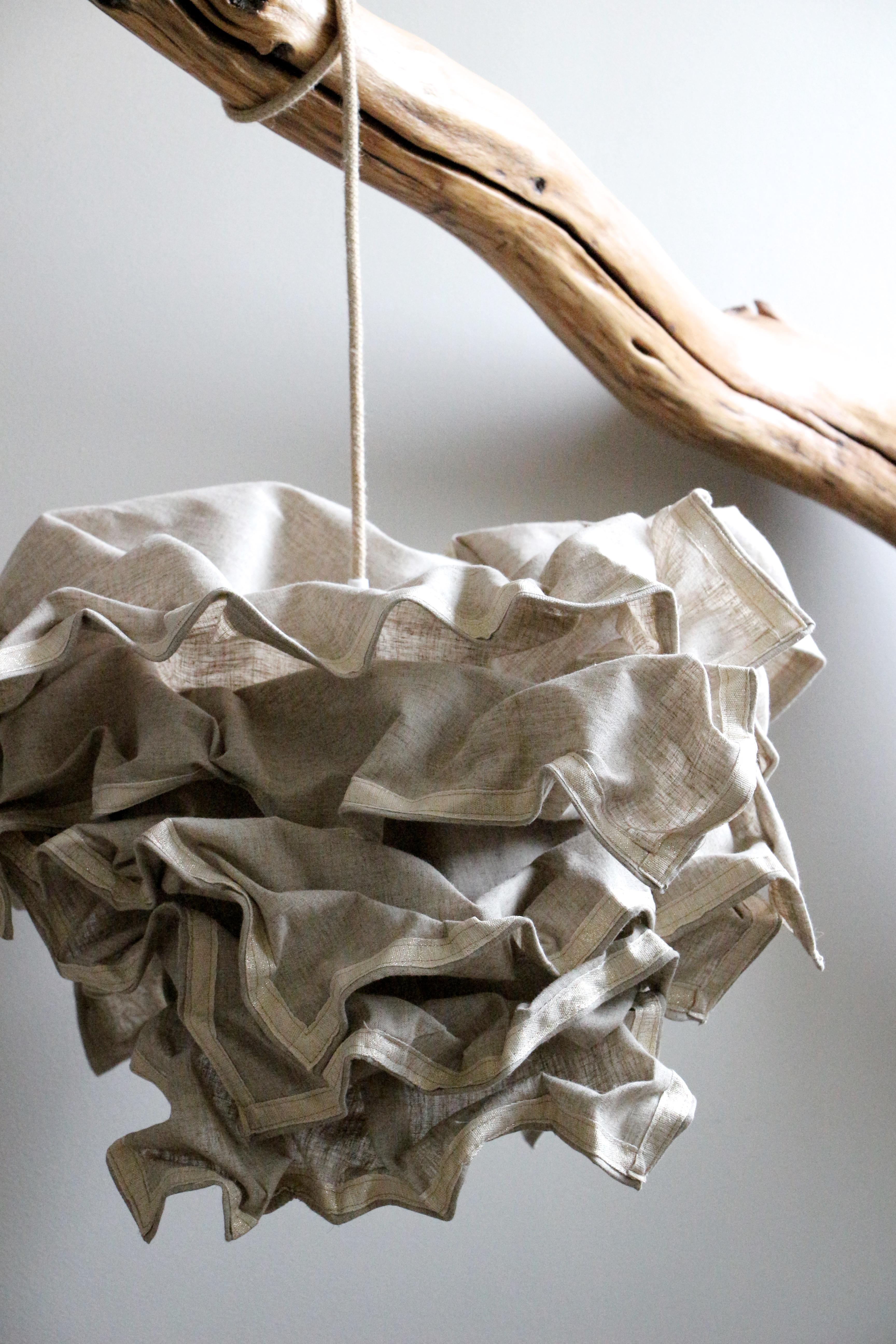 abat jour fleur lin naturel fil bois. Black Bedroom Furniture Sets. Home Design Ideas