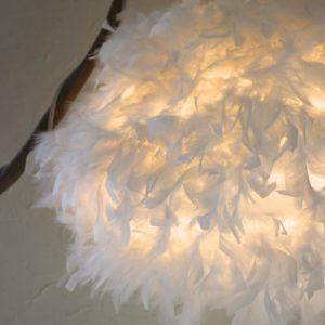 lampe bois abat-jour plume