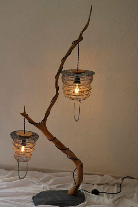 lampe en bois artisanale suspension métal